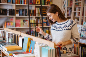 Woman shopping at book store