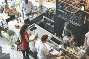 Modern Coffee shop ceiling view
