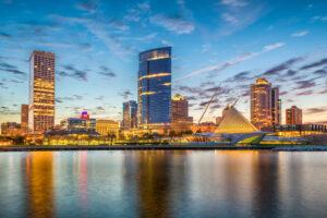 Downtown Milwaukee with beautiful skyline