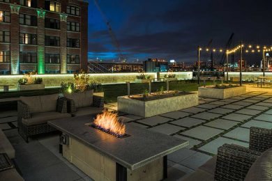 Brix outside seating and fire table