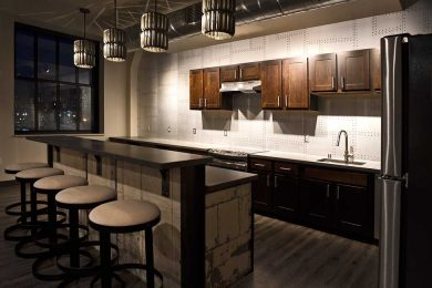 Clubroom Kitchen large island bar and counter space