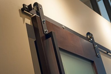 One Bedroom Model - Custom Rolling Barn Door With Frosted Glass