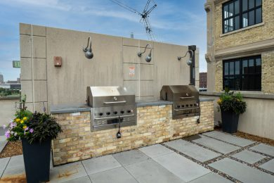 Patio Grill with Skyline View