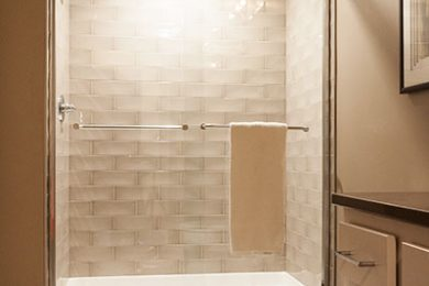 Two Bedroom Model - Designer Baths With Full Height Glass Shower Doors And Tile Surround